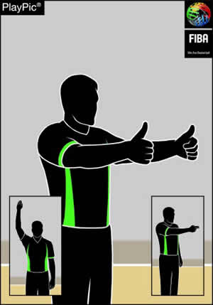 Handzeichen gehaltener Ball oder Sprungball
