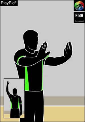 Handzeichen Stoßen oder Attackieren ohne Ball