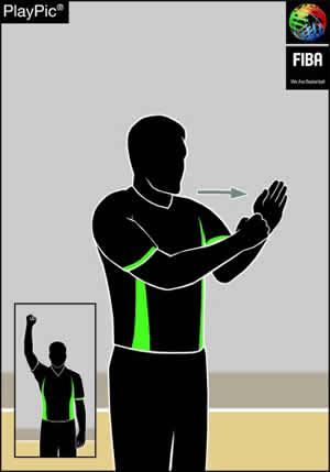Handzeichen Attackieren mit Ball