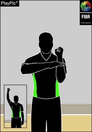 Handzeichen regelwidriger Kontakt an der Hand