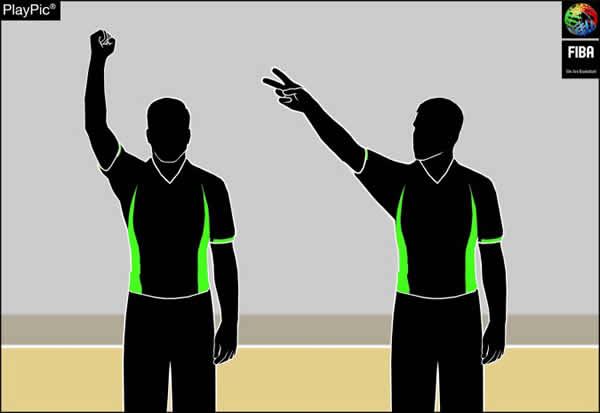 Handzeichen Foul beim Korbwurf