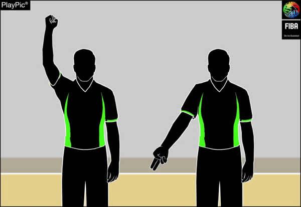 Handzeichen Foul nicht beim Korbwurf