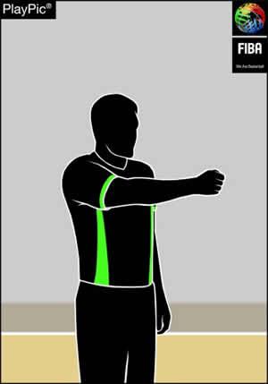 Handzeichen nach einem Foul mit Ballkontrolle