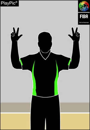 Handzeichen 3 Freiwürfe