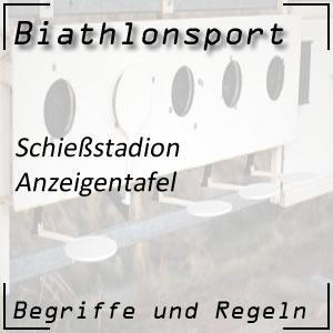 Biathlon Anzeigentafel im Schießstadion