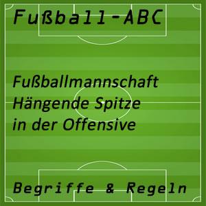 Fußballmannschaft Hänge Sturmspitze