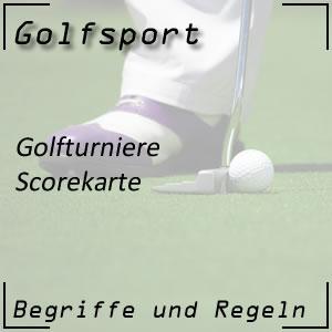 Golfturnier Scorekarte