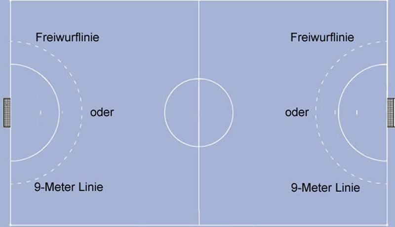 Freiwurflinie am Handballfeld