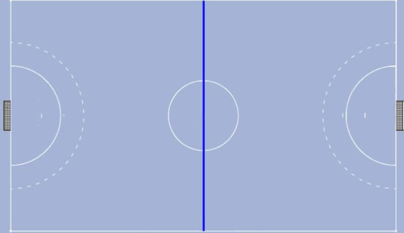 Mittellinie auf dem Handballfeld