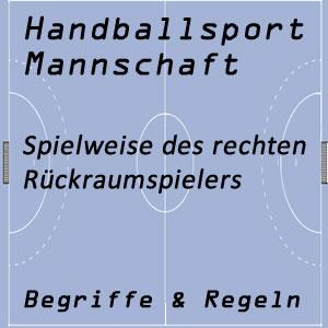 Handballmannschaft rechter Rückraumspieler