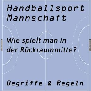 Handballmannschaft Rückraummitte oder Rückraumspieler