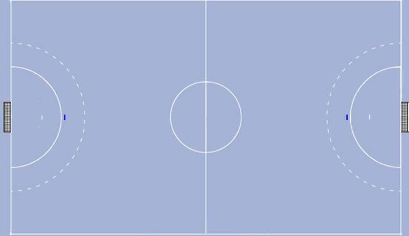 Strafwurfpunkt am Handballfeld