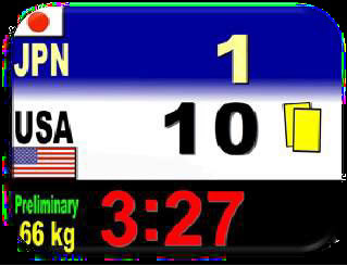 elektronische Anzeigetafel im Judo