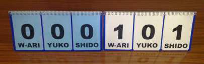 manuelle Anzeigetafel im Judo