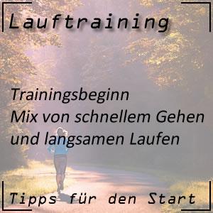 Lauftraining Trainingsbeginn gehen und laufen