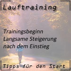 Lauftraining Trainingsbeginn Steigerung
