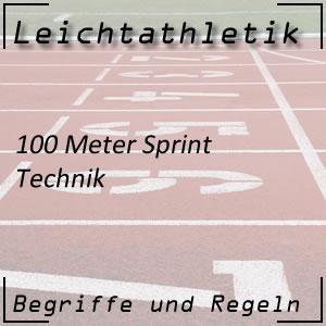 Leichtathletik Laufen 100 m Sprint Technik