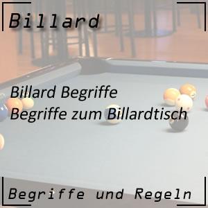 Billard Begriffe zum Billardtisch