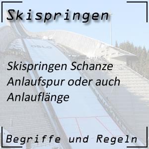 Skispringen Schanze Anlaufspur Anlauflänge