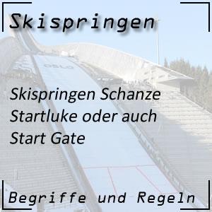 Skispringen mit Startluke und Start Gate