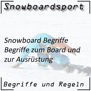 Snowboard Begriffe Ausrüstung