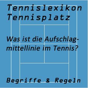 Aufschlagmittellinie am Tennisplatz