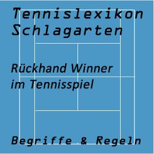 Rückhand Winner oder Punktschlag von der Rückhandseite im Tennisspiel